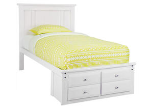 CATALINA TWIN PLATFORM BED WH WHITE