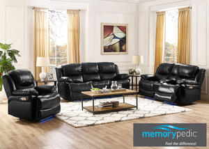 Neptune Black 3 Pc Power Living Room w/Power Headrest