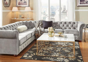 Barrington Gray Velvet 7-Seat Sectional