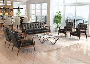 Rocky Black 5 Pc. Living Room