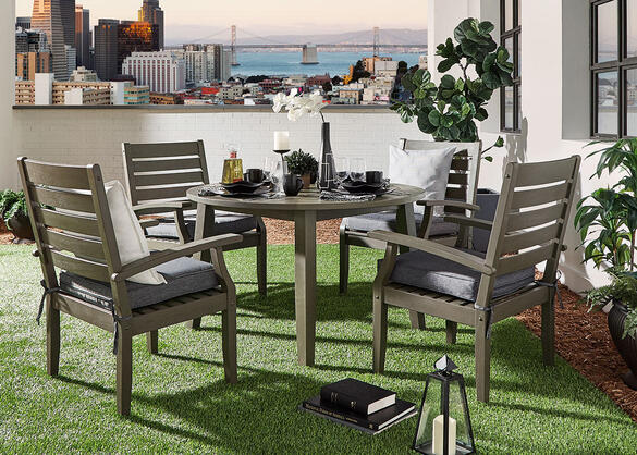 Newport Gray 5 Pc Round Dinette W Cushions The Roomplace