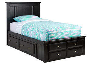 CATALINA TWIN PLAT BED W/STRG BLK BLACK