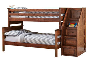 CATALINA T/F CH BUNK BED W/STARICASE CHESTNUT