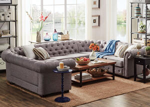 Barrington Gray Linen 9-Seat U Sectional