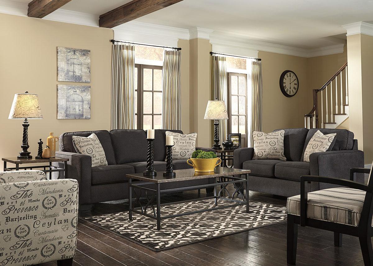 Arthur Charcoal 3 Pc. Living Room W/Script Accent Chair