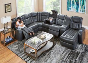 Tesla 7pc Laf Pwr Leather Sectional