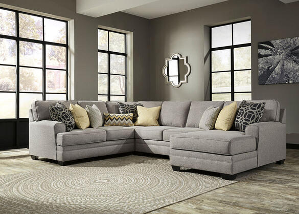 Claudine 4 Pc. Sectional w/Armless Loveseat & Chaise