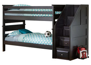 CATALINA T/T BLACK BUNK BED W/STAIRCASE BLACK