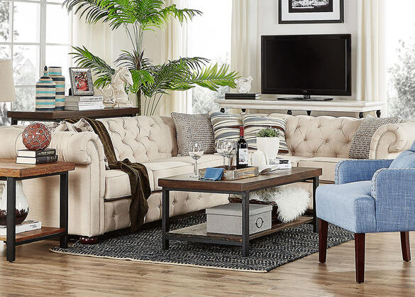 Barrington Beige Linen 5-Seat Sectional