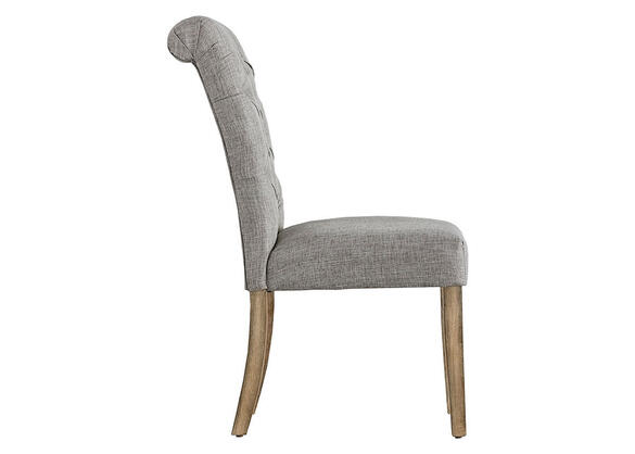 Gray Linen Rolled Tufted Chair Gray