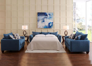 Heritage 3pc Queen Sleeper Living Room Blue