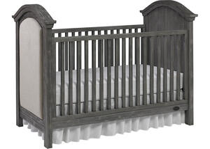 Lucca Weathered Gray Upholstered Convertible Crib by Dolce Babi