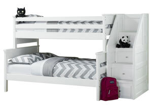 CATALINA T/F WHT BUNK BED W/STAIRCASE WHITE
