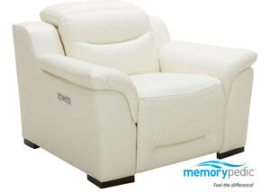 Callisto White Power Recliner w/Power adjustable Headrests