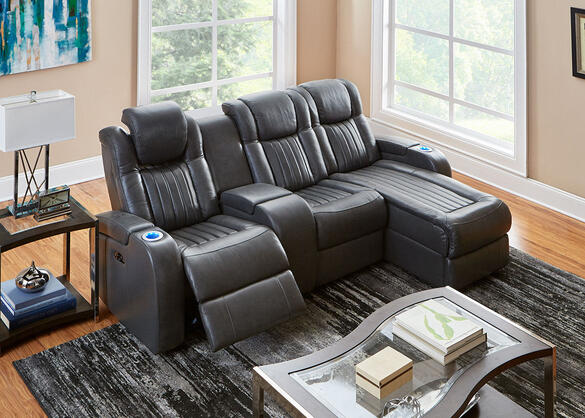 Tesla 4pc Laf Pwr Leather Sectional