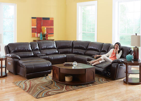 San Mateo 6pc Raf Pwr Leather Sectional Brown - Armless Chair
