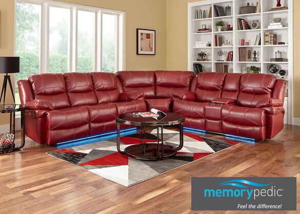 Neptune Red 3 Pc. Power Sectional w/Power Headrest