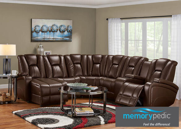Matrix Brown 6 Pc. Sectional (Reverse)