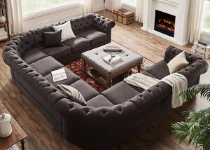 Barrington Charcoal Linen 11-Seat U Sectional