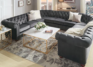 Barrington Charcoal Velvet 11-Seat U Sectional