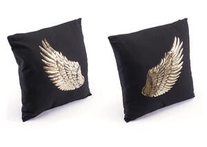 Metallic Wings 2 Pc. Pillows Black