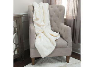 Ashton White Faux Fur Throw