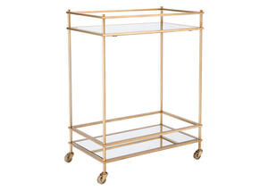 Mirrored Bar Cart Yellow