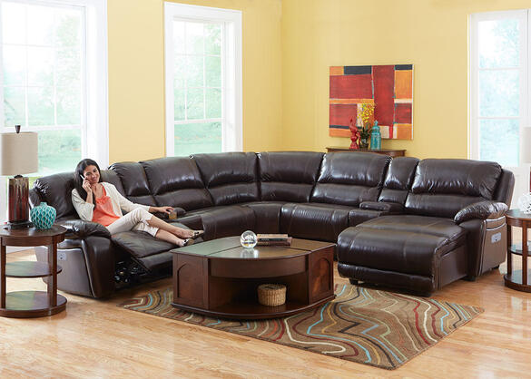 San Mateo 6pc Laf Pwr Leather Sectional Brown - Armless Chair