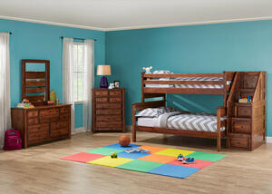 Catalina Chestnut 6 Pc. Twin/Full Bunk Bedroom with Storage Staircase