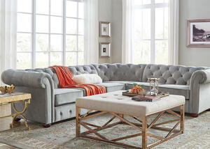 Barrington Gray Velvet 6-Seat Sectional