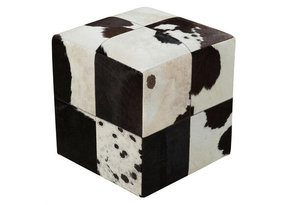 Hand Crafted Black/white Pouf Black