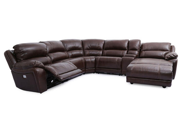 San Mateo 6pc Laf Pwr Leather W/chaise Brown