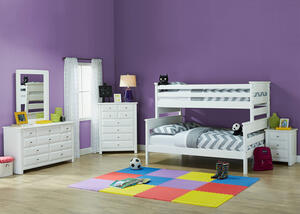 Catalina White 4 Pc. Twin/Full Bunk Bedroom