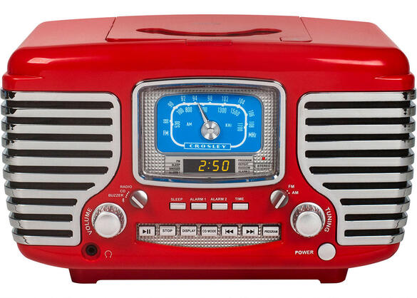 Crosley Corsair Red Clock Radio w/Bluetooth