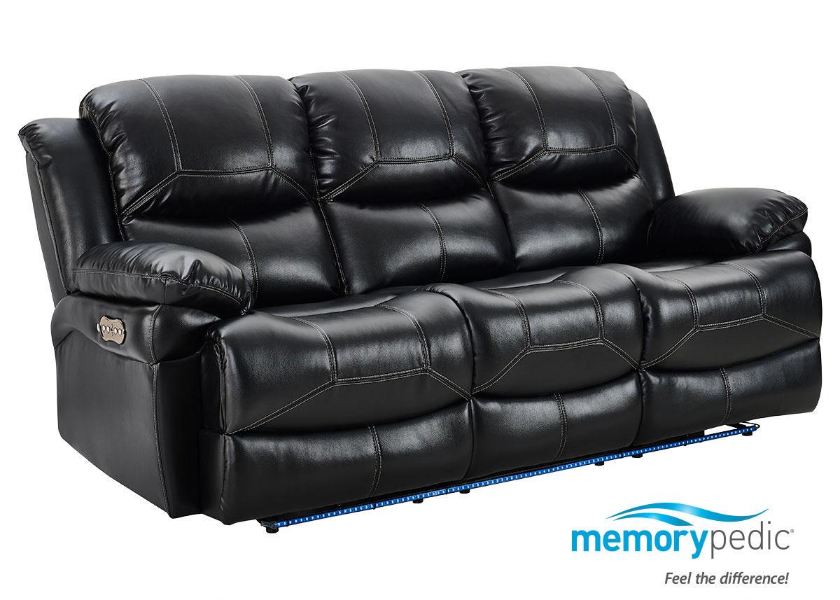 Neptune Black Power Reclining Sofa W/Power Headrest