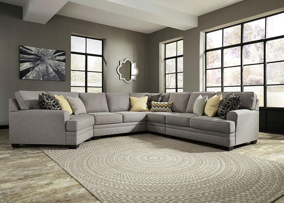 Claudine 5 Pc. Sectional w/Cuddler Chaise (Reverse)