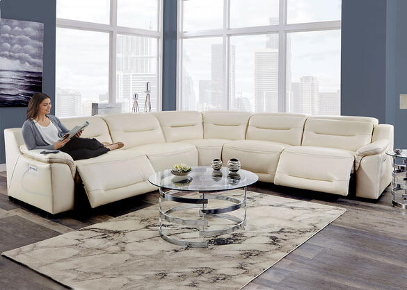 Callisto White 5 Pc. Power Sectional w/Power Adjustable Headrests