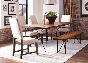 Sutherson 6 Pc. Dining Room w/Beige Tucson Chairs by Scott Living