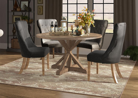 "Richland 5 Pc. 60"" Round Table Dinette w/Charcoal Tufted Linen Chairs"