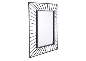 Sunburst Rectangular Mirror Black