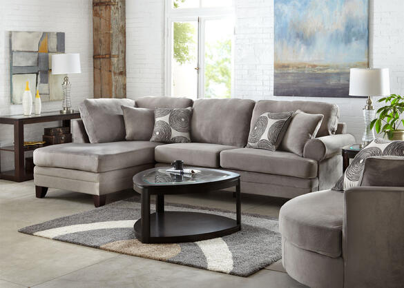 Zoey 2 Pc Raf Sectional Grey The Roomplace