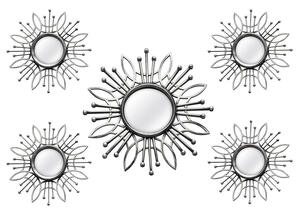 Burst 5 Pc. Wall Mirror Silver