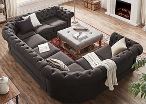Barrington Charcoal Linen 9-Seat U Sectional