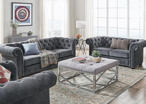 Barrington Charcoal Velvet 3 Pc. Living Room