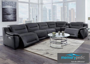 Callisto Charcoal 6 Pc. Power Sectional w/Two AL Chairs & Power Adjustable Headrests