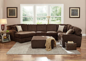 Easton Chocolate 3 Pc. Sectional w/Cuddler Chaise (Reverse)