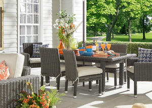 Langstone Charcoal 7 Pc. Outdoor Dinette