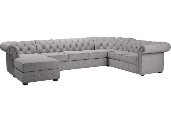 Barrington Gray Linen 7-Seat Sectional w/Chaise (Reverse)