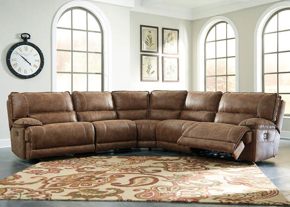 Spruce 5 Pc. Power Sectional w/Armless Recliners
