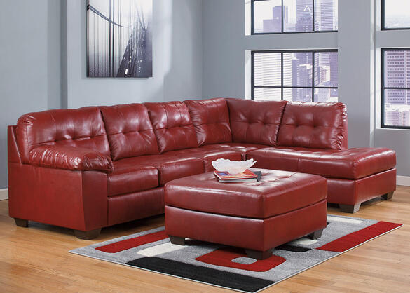 MAXIM 3 PC LAF SECT W/OTTOMAN RED